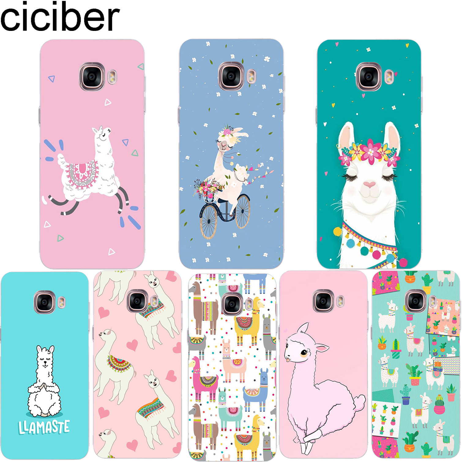 ciciber Cute Llama Animals Phone Case for Samsung Galaxy Note 9 8 3 4 5 Soft TPU Cover C7 C9 C8 C5 Pro 2017 Coque