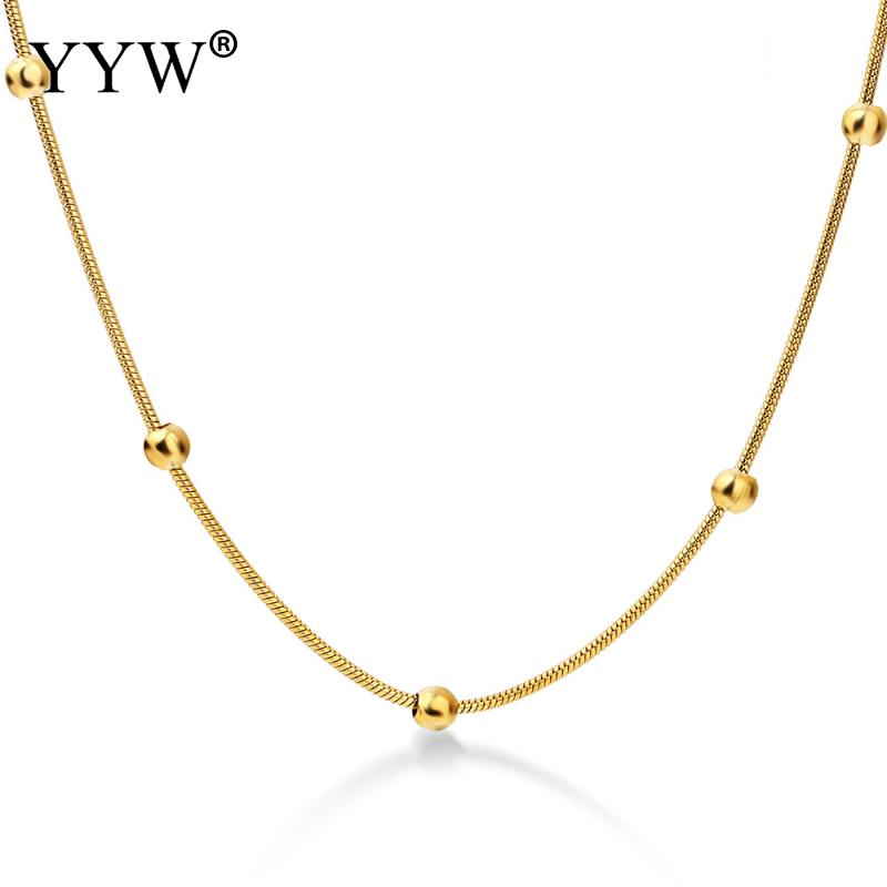 YYW 316L Stainless Steel Gold color Round Ball Pendant Necklace Link Chain Necklace Fashion Jewelry For Women or Men in Chain Necklaces from Jewelry Accessories