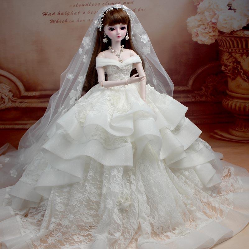 Bridal Bunny BBGirl Sd Doll Bjd Doll Handmade Make-up Wedding Dress Doll Full Joint Princess Girls Children Creative Gifts