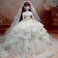 Bridal Bunny BBGirl Sd Doll Bjd Doll Handmade Make up Wedding Dress Doll Full Joint Princess Girls Children Creative Gifts
