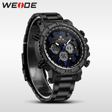 WEIDE genuine luxury brand watch sport Week Display stainless steelin quartz men Wrist watches contracted water resistant