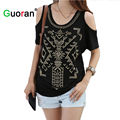 {Guoran } Women Rivet T-shirt Plus Size Laides Sexy Tees Summer New Black White Punk Style Female Loose TopsFemme Clothing