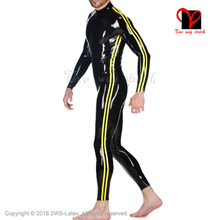 Sexy cat suit long sleeves tims front zipper zentai Rubber catsuit Jumpsuit stockings Latex Catsuit men Jump suit round collar