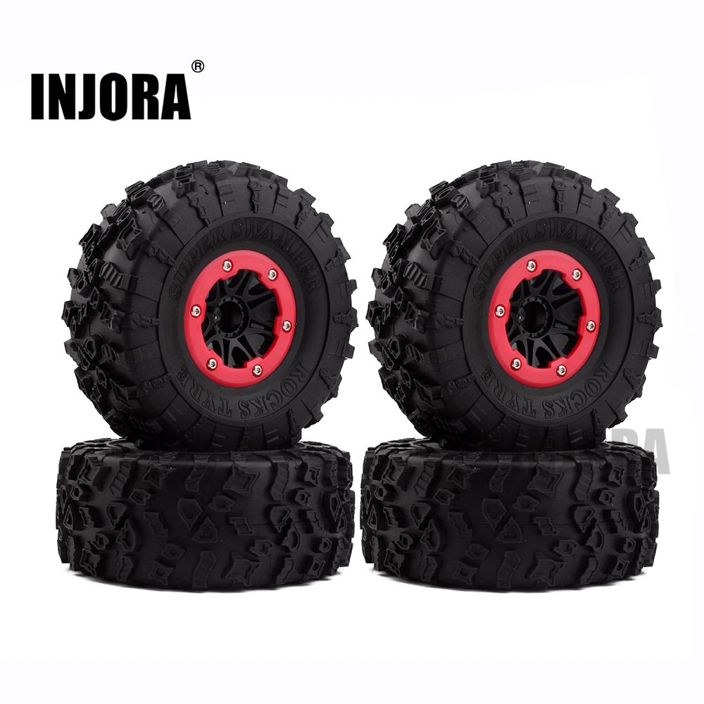 4PCS 2.2 Rubber Tires & Plastic Beadlock Wheel Rim for 1:10 RC Rock Crawler Axial SCX10 RR10 Wraith Yeti RC Car 4pcs thicker 2 2 inch rc 1 10 crawler alloy wheels rim beadlock wheel rims hub for 1 10 rc scx10 wraith 90018 rock crawler