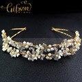 Envío gratis delicado perlas de agua dulce y Rhinestone de la flor de la boda del Bridemaid diadema Hairbands de la flor