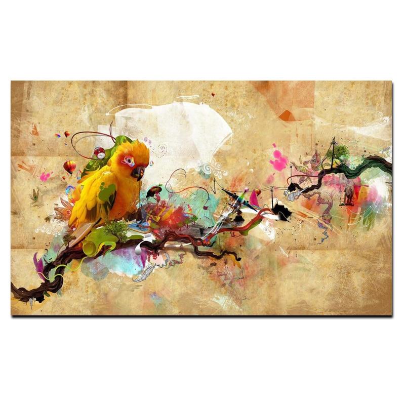 Soyut Sanatsal Boya Papağan Kuş Yağlıboya Tuval Poster ve Baskı - Ev Dekoru - Fotoğraf 3