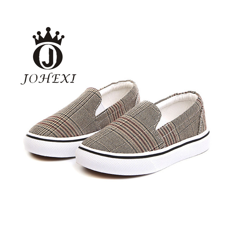 JOHEXI Fashion Girl/Boy Children Board Shoe Spring/Autumn Gingham Anti-Slippery Breathable Wear-resistant Cow Muscle 14-19 CM