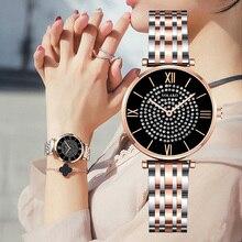 Women Dress Watch 2019 Top Brand Luxury Full Diamond Quartz Watch Women Rose Black Steel Belt Clock Waterproof Relogio Feminino все цены