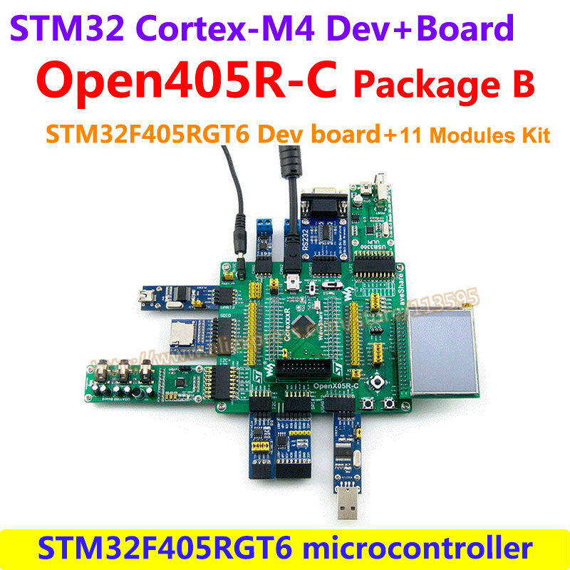 STM32 Board ARM Cortex-M4 STM32F405 STM32F405RGT6 STM32 Development Board(168MHz)+11 Accessory Module Kits =Open405R-C Pack B module stm32 arm cortex m3 development board stm32f107vct6 stm32f107 8pcs accessory modules freeshipping open107v package b