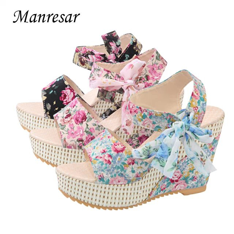 Manresar 2017 Fashion Women Sandals Summer Wedges Women's Sandals Platform Lace Belt Bow open toe high-heeled Women shoes Female eiswelt 35 40 fashion summer wedges women s sandals platform lace belt bow flip flops open toe high heeled women shoes edzw16