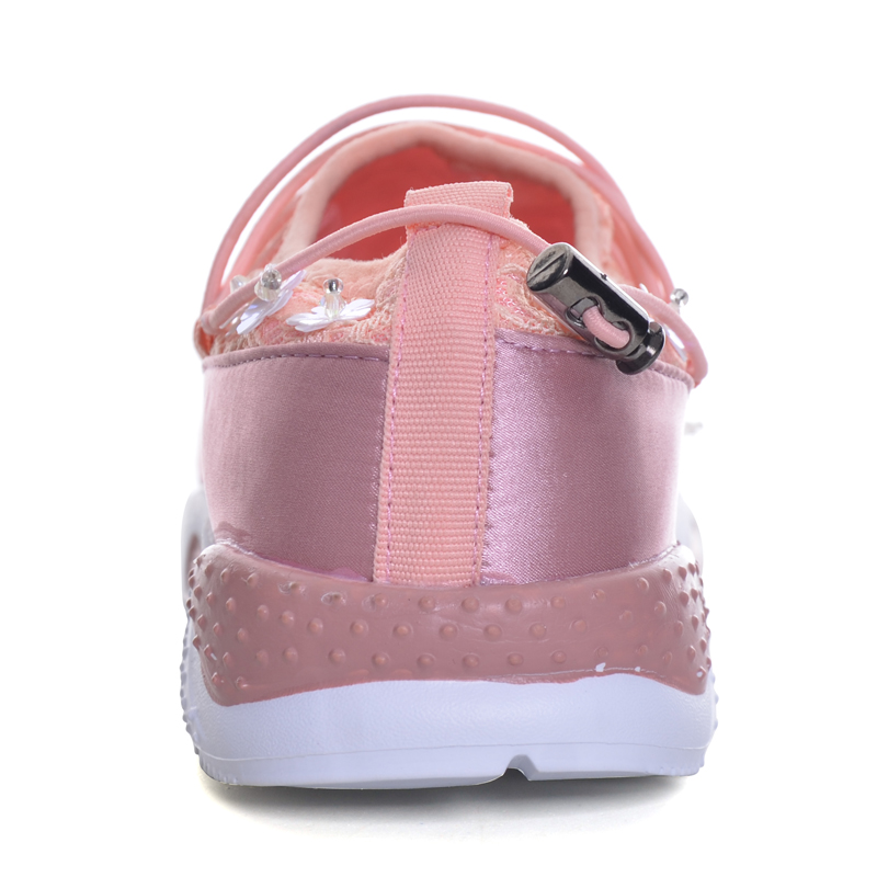 Xwc1222 Chaussures À Filles pink Femme Grand Hee Sneakers forme Couleur Lacets Plat 2 Black Cristal Femmes Plate Automne Casual wRgqI8ag