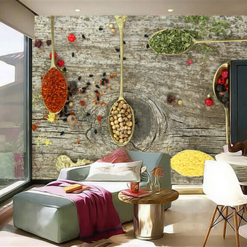Custom 3D Mural Wallpaper Spices Spoon Food Wallpapers Restaurant Kitchen Coffee Shop Background Wallpaper Papel De Parede 3D