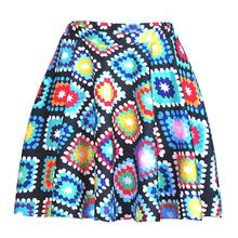 Colorful Geometry Women Sexy Pleated Skirts Tennis Bowling Bust Short Skirts Square Design Female Fitness Sport Apparel A Style