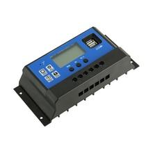 60A 50A 40A 30A 20A 10A фотоэлектрическая Солнечная Панель Контроллер заряда 12 V/24 V с ЖК-дисплей дисплей двойной USB кабель для зарядки PWM регулятором солнечного регуляторы PV Батарея зарядные устройства