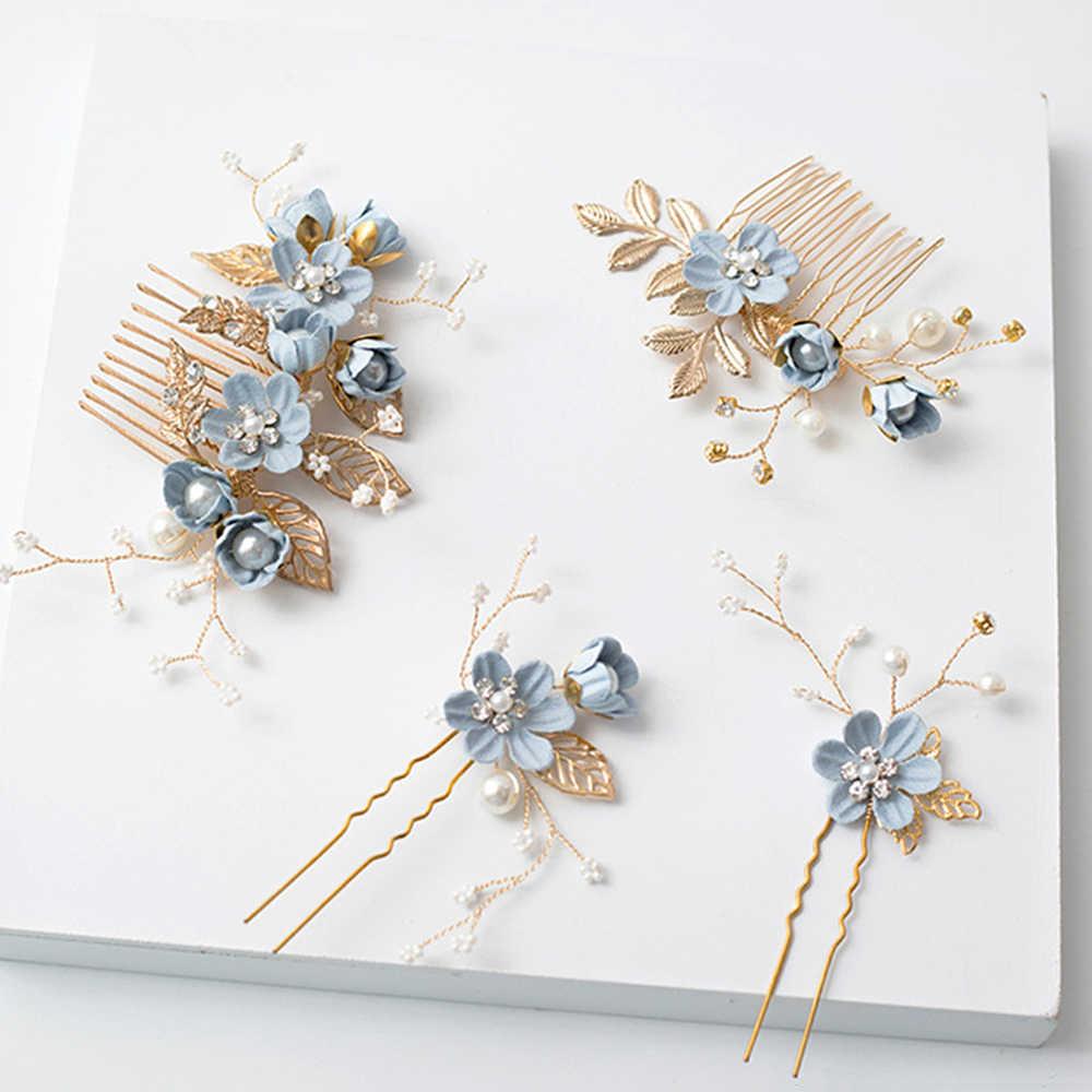 1 шт. роскошный синий розовый цветок расчески для волос головной убор для выпускного вечера корона для невесты аксессуары для волос, золотистый листья украшение для волос шпильки