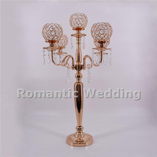 Бесплатная доставка 6 шт./лот 5 рук бисером золотой кристалл металлический подсвечник ваза для центра стола на свадьбу Украшение для мероприятия вечеринки украшения