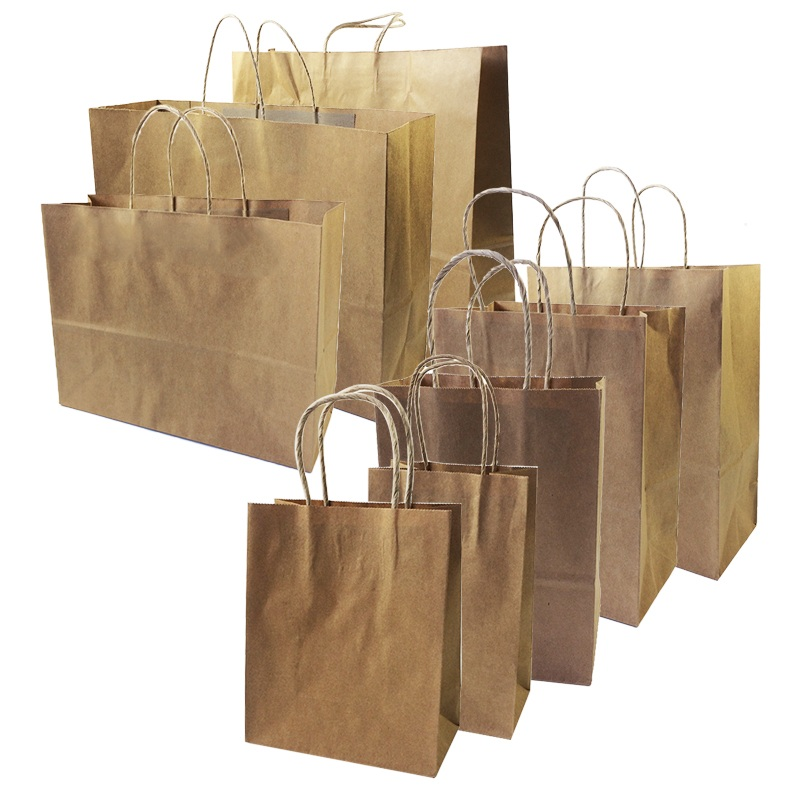 10 Pcs/lot Big Kraft Paper Bag With Handles Recyclable Bag For Fashionable Clothes Shoes Gift Shops 8 Size Cowhide Color