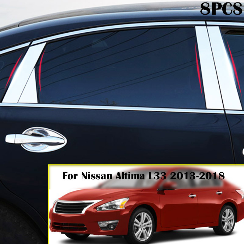 2018 Nissan Altima Interior: AX Chrome Window Pillar Post Cover Trim Stainless Steel