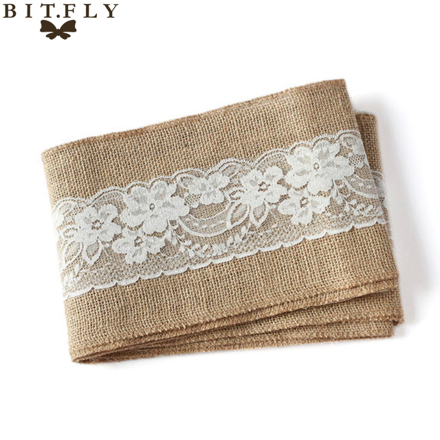 100Pcs/lot Naturally Elegant Burlap With Lace Tirm Chair Sashes Jute Chair  Tie Bow For