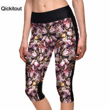 Qickitout 2016 Women's Fashion 7 Point Pants Flower Digital Printing Leggings high waist Side pocket phone pant Drop Shipping(China)