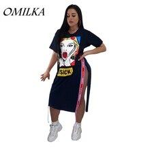 OMILKA 2019 Summer Women Short Sleeve O Neck Cartoon Letter Printed Side Split T Shirt Dress Casual Black White Hip Hop