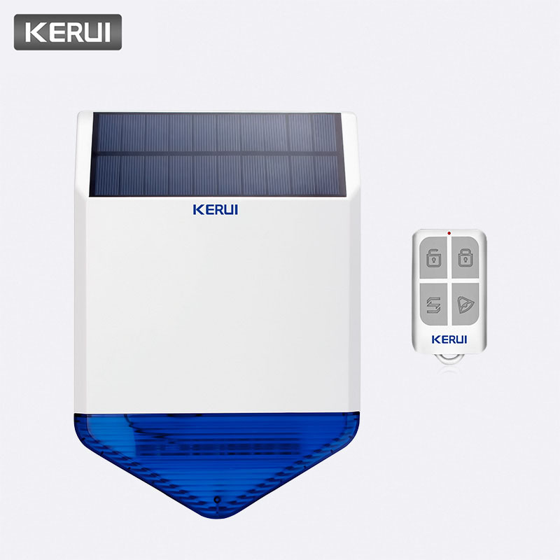 KERUI 110dB 433MHz SJ1 Solar Siren Alarm System SOS Button Home Security Emergency Alert Button Waterproof Indoor Outdoor Siren