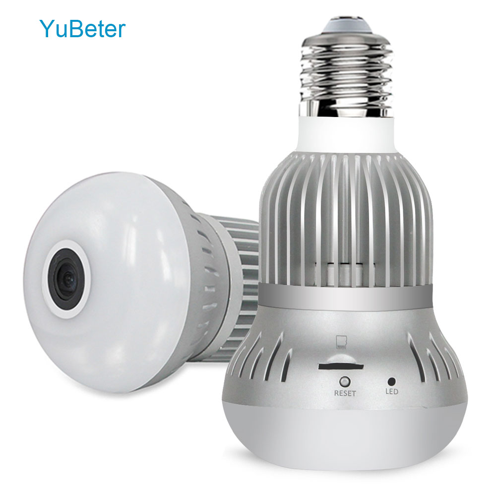 YuBeter 1080p 360 Panoramic Wifi Camera Lamp Bulb Mini Infrared Camera Fisheye Home Security Wireless Surveillance