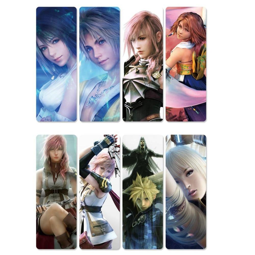 8pcs Final Fantasy Anime Bookmarks Waterproof Transparent PVC Plastic Bookmark Beautiful Book Marks Gift