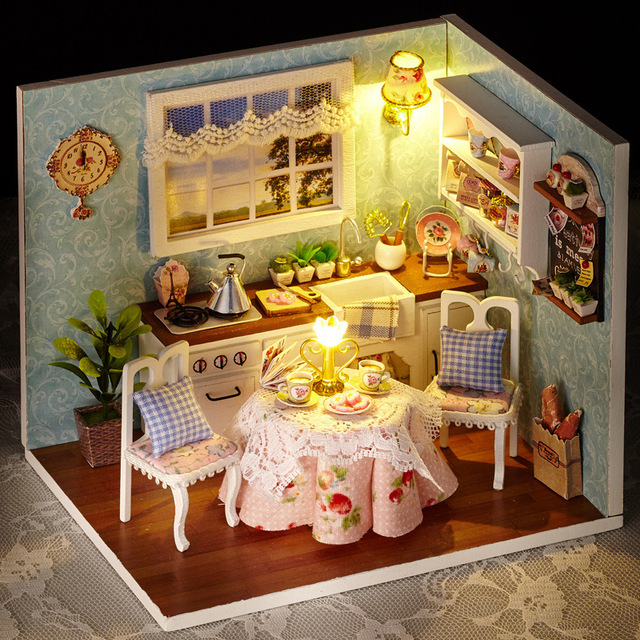 Toy Dollhouse Miniature Assemble Kit With LED Furnitures Handcraft  1