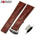 Zlimsn correa correa de grano de la avestruz cuero genuino venda de reloj de los hombres de moda 24mm de acero inoxidable hebilla de cinturón de pulsera tag101