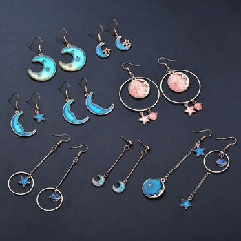 New Korean Style Jewelry Blue Star Moon Long Drop Earrings For Women Asymmetric Round Planet Earrings Fashion 2019 New Hot Sale image