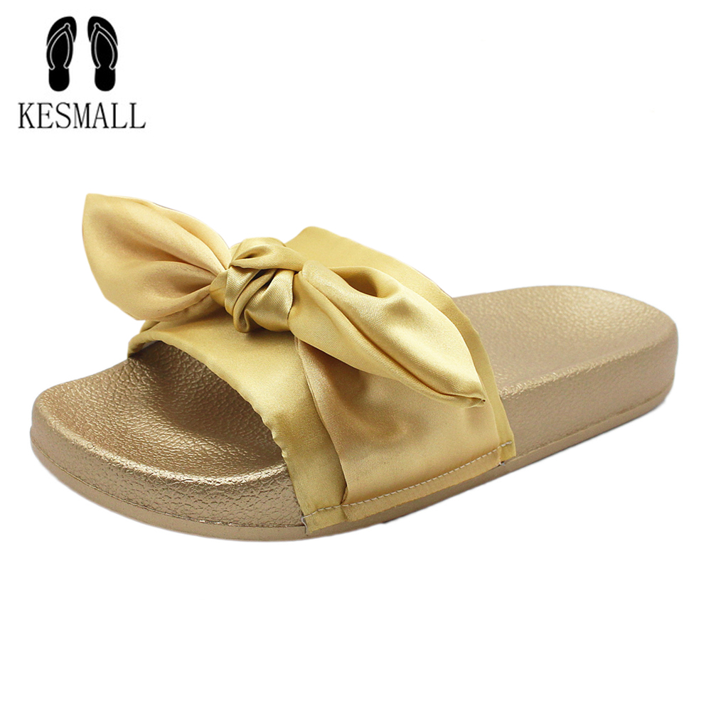 2018 Бабочка-узел модные шлепанцы Босоножки на платформе летние пляжные шлепанцы Вьетнамки удобная обувь на плоской подошве Chaussure WS31