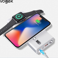 VOGEK 20000mAh Power Bank Qi Wireless Charger Power Pank for Mobile Phone i Watch Tablet Fast Wireless External Battery