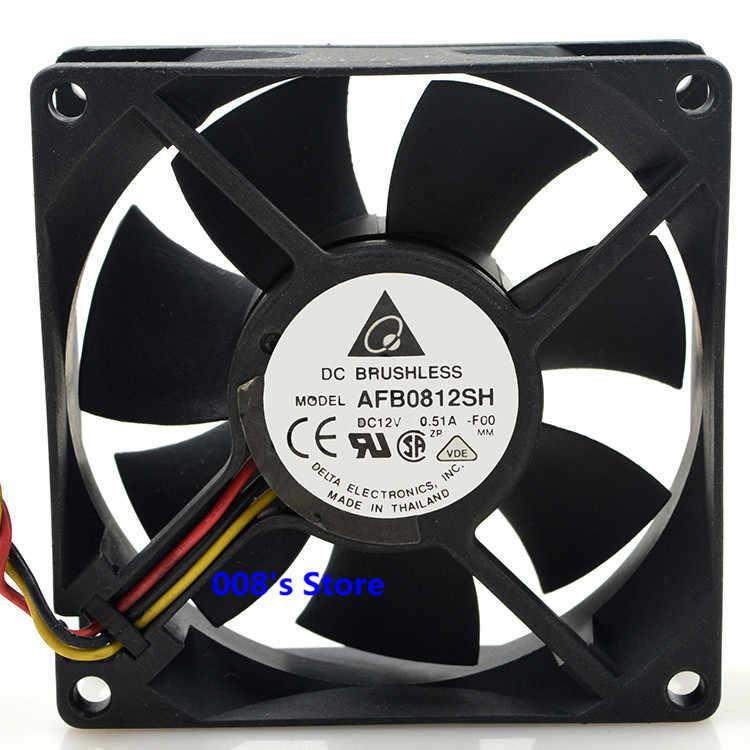 """מאוורר מעבד קריר רדיאטור חדש HP לשרת Dell מחשב AFB0812SH 80*80*25 מ""""מ DC 12 V 0.51A-F00 3 סיכות/3 חוטים 44CFM אוויר גדול"""