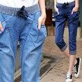 4xl plus size denim jeans pants women summer style 2016 bermuda feminina high waist elastic haroun pants thin jeans female A0717
