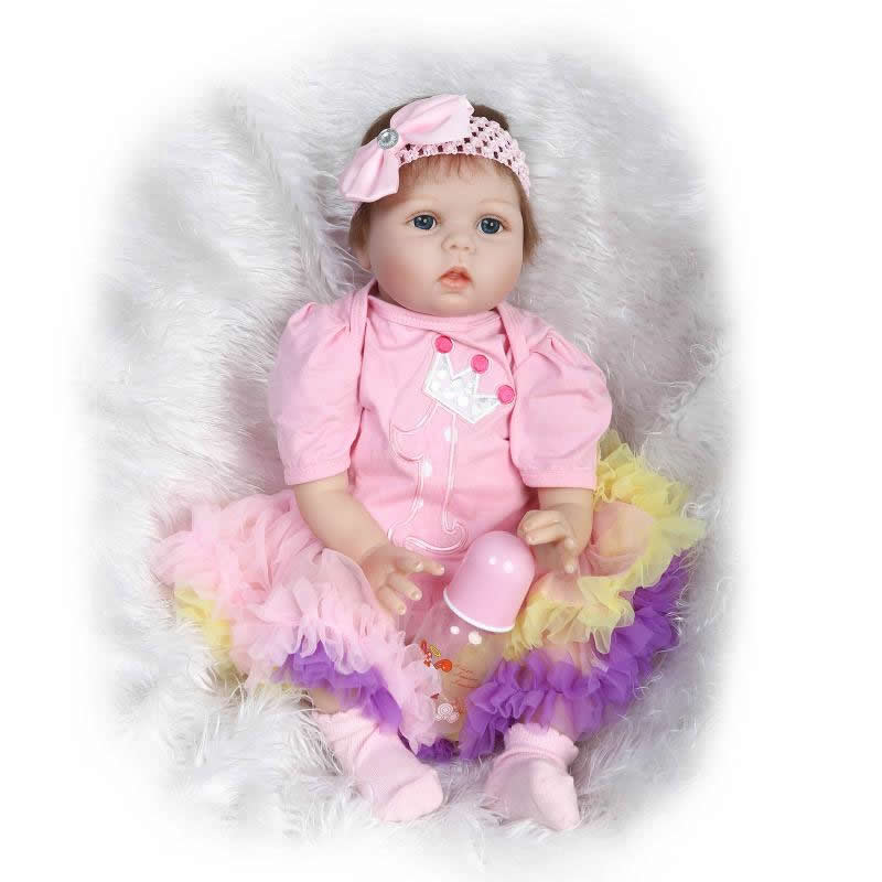 Can Sit And Lie 22 Inch Reborn Baby Doll Realistic Lifelike Silicone Newborn Babies With Pink Dress Kids Birthday Christmas Gift handmade 22 inch newborn baby girl doll lifelike reborn silicone baby dolls wearing pink dress kids birthday xmas gift