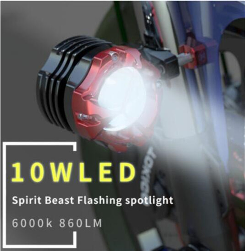 SPIRIT BEAST 10W Lens Motorcycle Car Lights External Flashing Auxiliary Lights LED Spotlight Motorcycle Modification Accessories