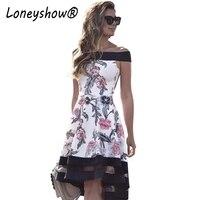Loneyshow New Fashion Slash Neck Ladylike Vintage Floral Print Dress Off Shoulder Patchwork Party Ball Gown