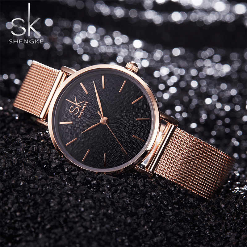 SHENGKE SK Top Luxury Brand Fashion Women Watches For Women Wristwatch Minimalist Stainless Steel Wrist Watch Female Clock 2018