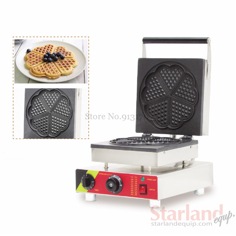 Commercial non-stick waffle baker heart-type waffle pan stainless steel waffle baker  with five pcs  moulds 2016 new coming commercial non stick carton bear waffle baker stainless steel waffle machine unique design with 2 pcs molds 220v 110v