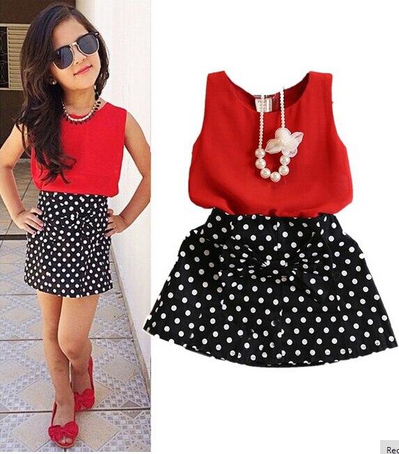 2016 New Summer Fashion Kids Girls Clothes Sleeveless Chiffon Tops Vest Polka Dot Bowknot Skirt Outfits Children Clothing Sets