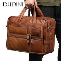 DUDINI Men S Business Briefcase Genuine Leather Laptop Bags Male Large Capacity Shoulder Messenger Bag