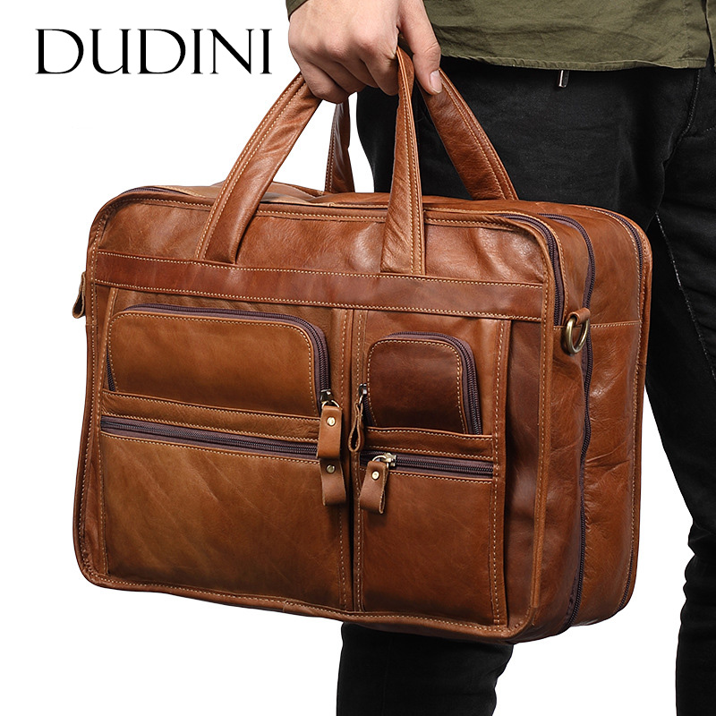[DUDINI] Men' s Business Briefcase Genuine Leather Laptop Bags Male Large Capacity Shoulder Messenger Bag Casual Totes Handbag bostanten canvas nylon shoulder men s bag business messenger handbag briefcase tote laptop casual purse