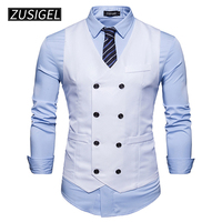 ZUSIGEL Men's Formal Vest V Neck Sleeveless Business Suit Double Breasted Classic Waistcoat