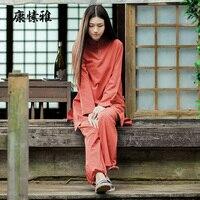 Bamboo Cotton Yoga Meditation Women Long Sleeve Yoga Clothes Tai Chi Suit