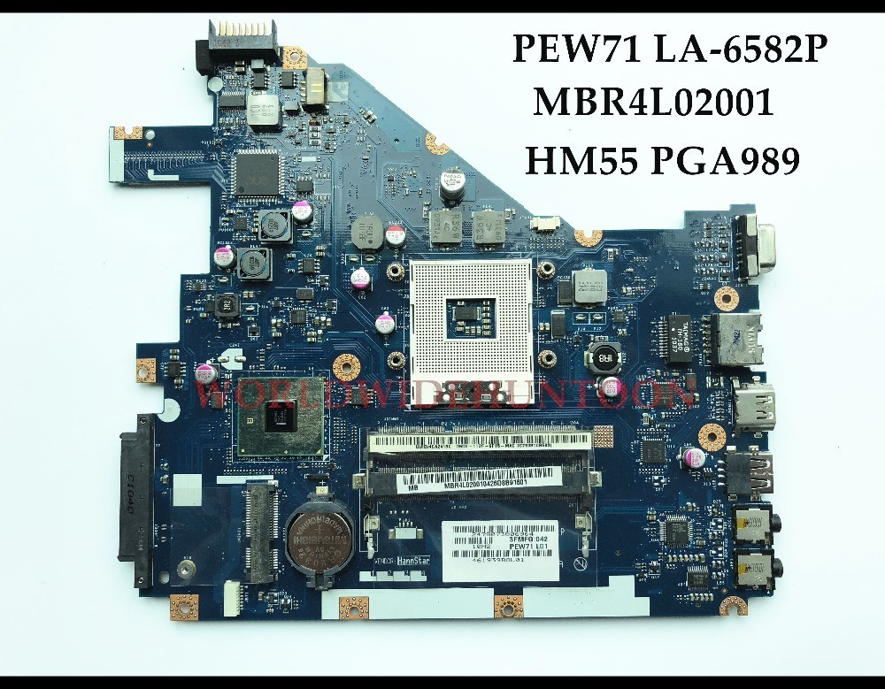 High quality PEW71 LA-6582P For ACER Aspire 5742 5742G Laptop Motherboard MBR4L02001 HM55 PGA989 DDR3 100% Fully Tested high quality desktop motherboard for 580