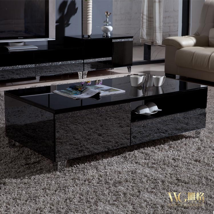 vega export grade mirror finish black glass coffee table coffee table rhinestones free installation package logistics