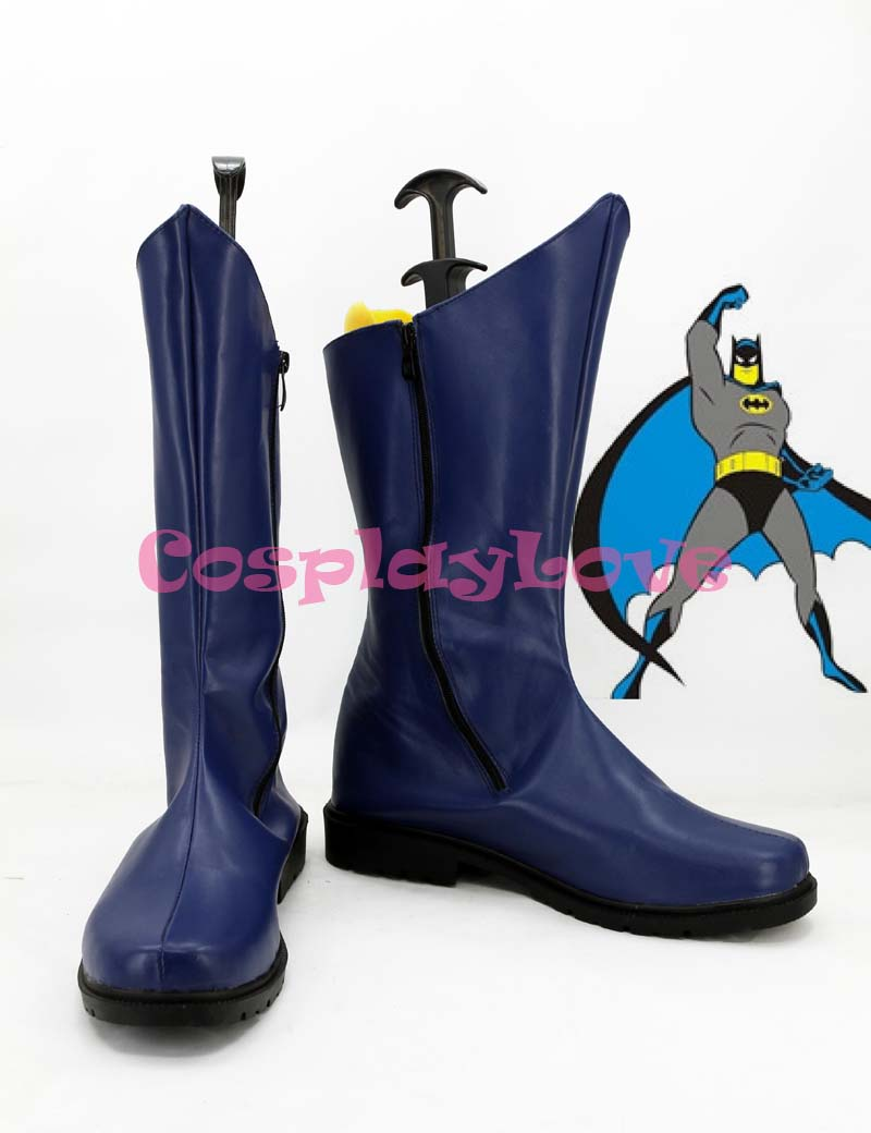 Newest Custom Made American Batman Movie Blue Batman Cosplay Shoes Long Boots For Halloween