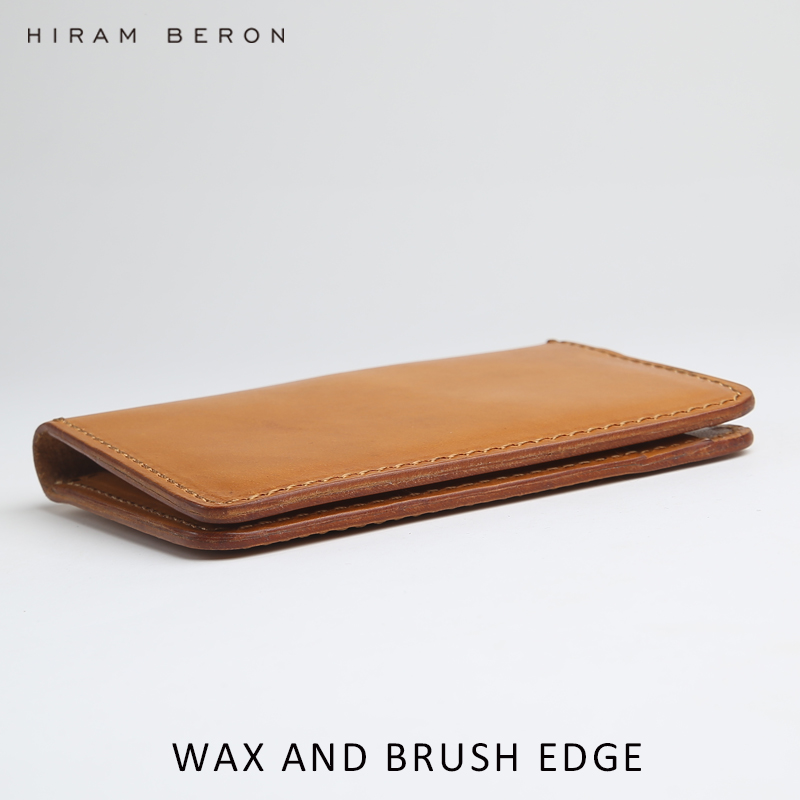 Hiram Beron CUSTOM NAME FREE Minimalist wallet case card holder for men card bag Italian vegetable tanned leather holiday gift