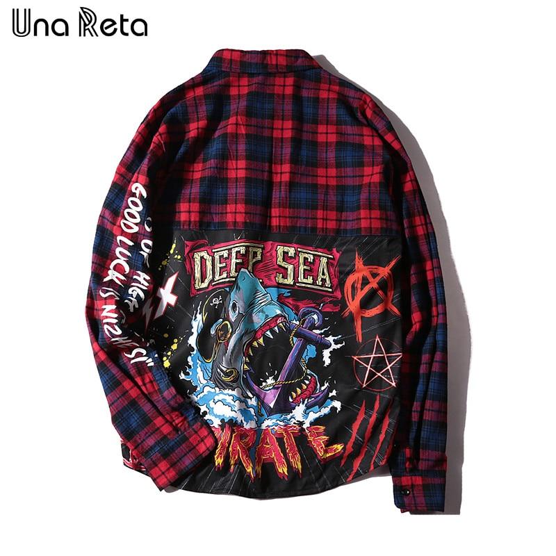 Una Reta Men Shirt Fashion Casual Man Long Sleeve Hip-hop Printing Cardigan Tops New Mens Plaid Casual Shirt Streetwear
